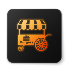 Orange glowing fast street food cart with awning vector