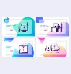 Printing machine create object website landing vector