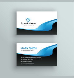 Professional blue wave business card template vector