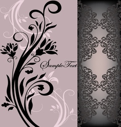 purple floral card vector image