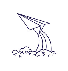 purple line contour of paper plane launch vector image