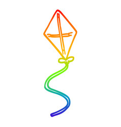 Rainbow gradient line drawing cartoon kite vector