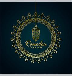 Ramadan kareem greeting with hanging lamp and vector