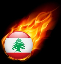 Round glossy icon of lebanon vector