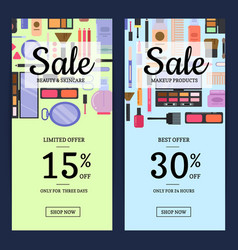 sale banners for beauty shop with makeup vector image