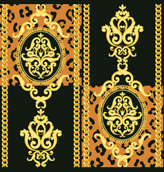 Seamless damask pattern gold on black and animal vector