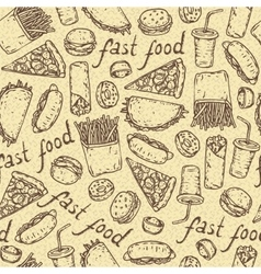 Seamless Pattern with Fast Food vector
