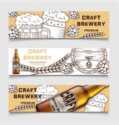 set beer brewery vintage banners vector image