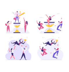 Set multitasking and winners honoring concept vector