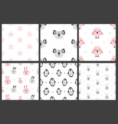 set nursery kids seamless patterns vector image