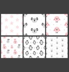 set nursery kids seamless patterns vector image