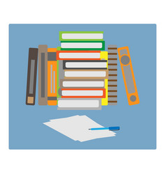 set of books and a piece of paper vector image