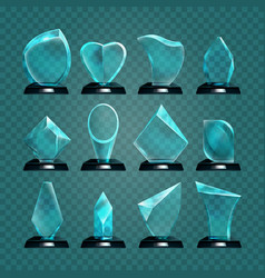 set of isolated glass trophy for winning award vector image