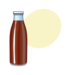 Side view drawing of bottle with chocolate milk vector