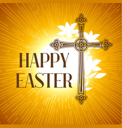 Silhouette ornate cross happy easter concept vector