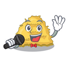 Singing hay bale mascot cartoon vector