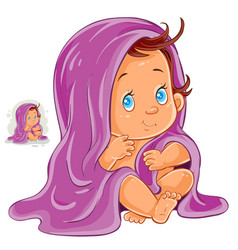 Small child after bath vector