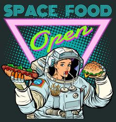 space food woman astronaut eats cola hot dog vector image