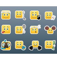 Sport emoticon smile stickers set vector