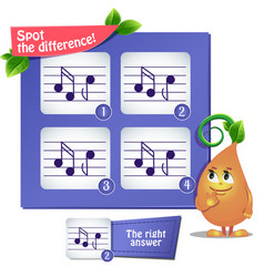 Spot the difference musical notes vector