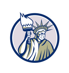 Statue liberty wearing surgical mask circle vector