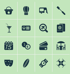 trip icons set with calendar mask surfboard and vector image