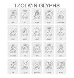 Tzolkin calendar named days and associated glyphs vector