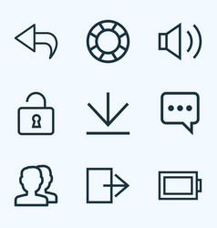user icons line style set with audio return vector image