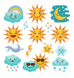 Various weather icon set vector
