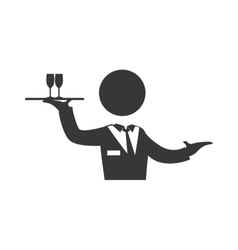 Waiter cup male pictogram suit person icon vector image