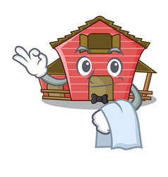 Waiter spring day with a red barn cartoon vector