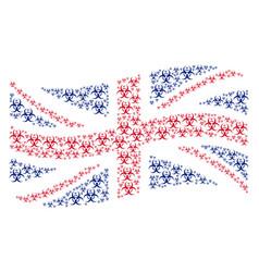 Waving british flag collage of biohazard items vector