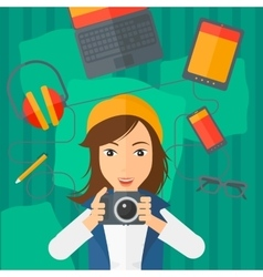Woman holding camera vector image