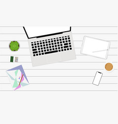 workplace top view with laptop smartphone tablet vector image