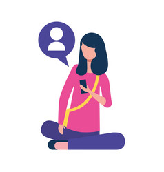 young woman sitting using smartphone chatting vector image