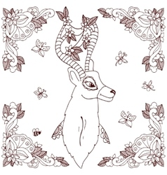 Zen tangle deer in a flower vector