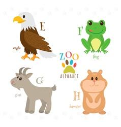 Zoo alphabet with funny cartoon animals E f g h vector
