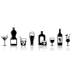 alcohol drinks icons banner design vector image vector image