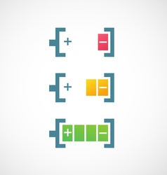 Battery charge level indicators icon vector