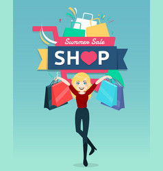 cartoon woman holding shopping bag with shopping vector image
