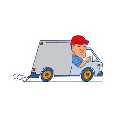 delivery man driving truck van cartoon vector image vector image