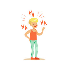 happy blonde boy in casual clothes laughing out vector image vector image
