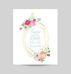 Wedding invitation floral template vector