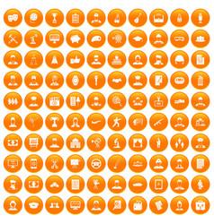 100 career icons set orange vector