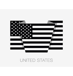 Black and White American Flag Flat Icon vector image vector image