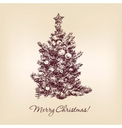 christmas tree hand drawn vector image vector image