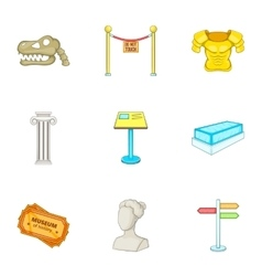 Going to museum icons set cartoon style vector image vector image