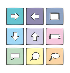 pastel icon set isolated on white vector image