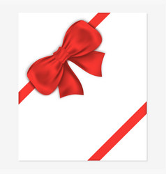 decorative gift bow with satin ribbon for vector image