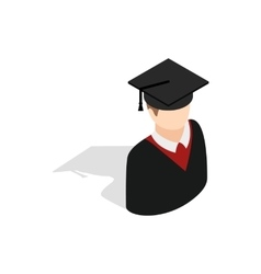 Graduate man in cap and gown icon vector image vector image